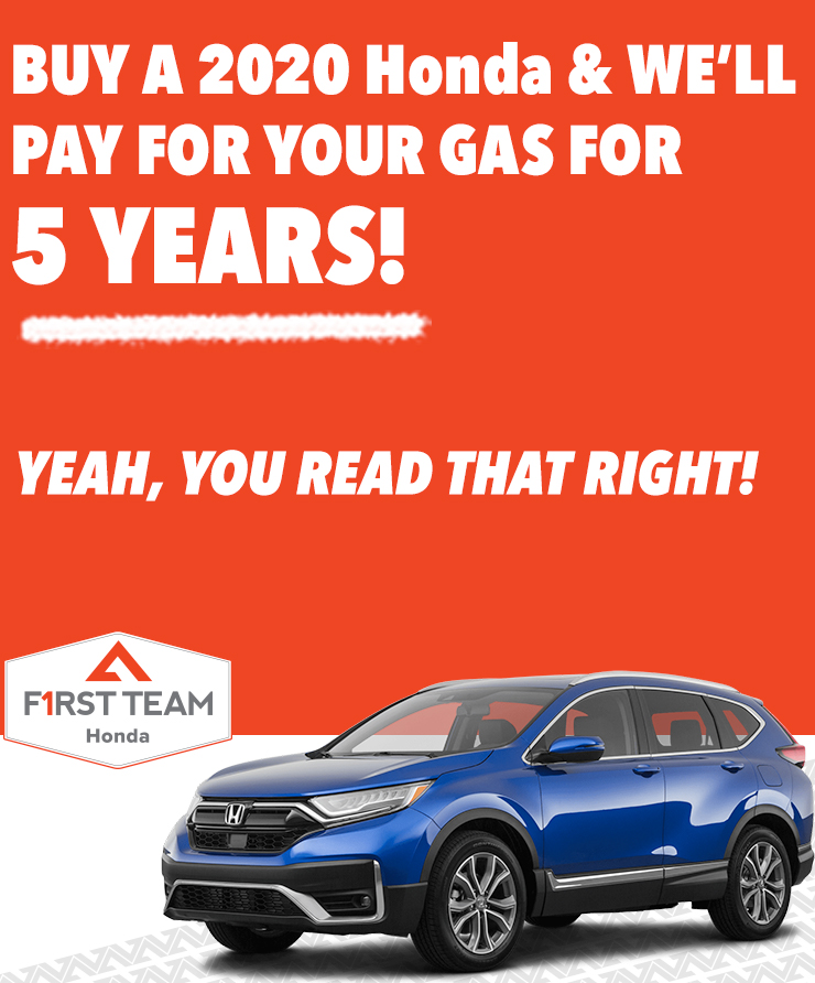 Honda Free Gas for 5 YEARS