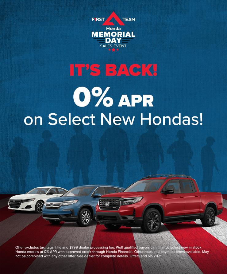 Honda 0% APR Available