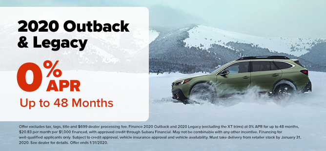 Subaru Outback and Legacy 0% APR