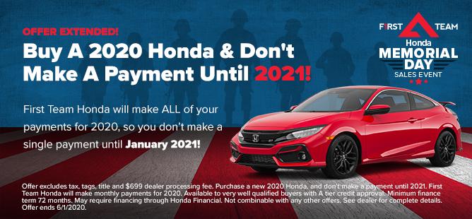 Buy A 2020 Honda, Don't Pay Until 2021
