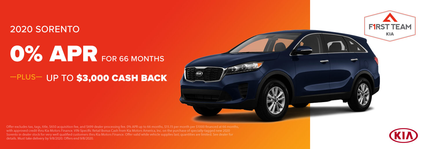 2020 Sorento 0% APR for Up To 66 Months PLUS Up to $3,000 Cash Back