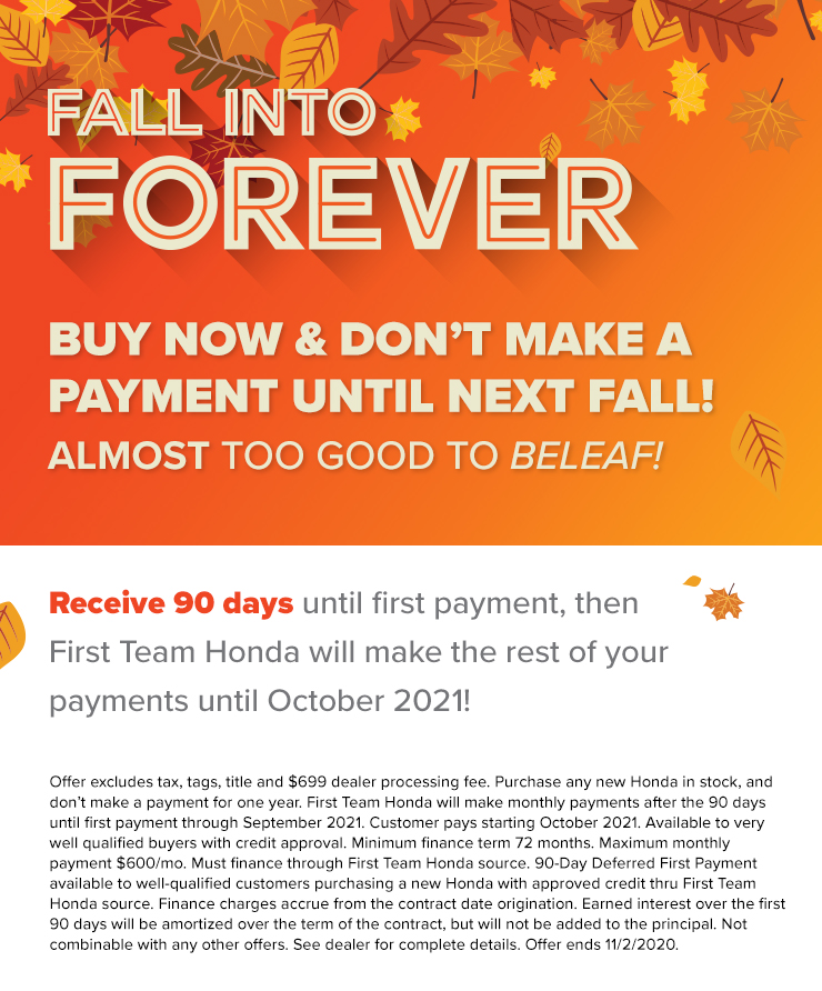 BUY NOW & DON'T MAKE A PAYMENT UNTIL NEXT FALL!