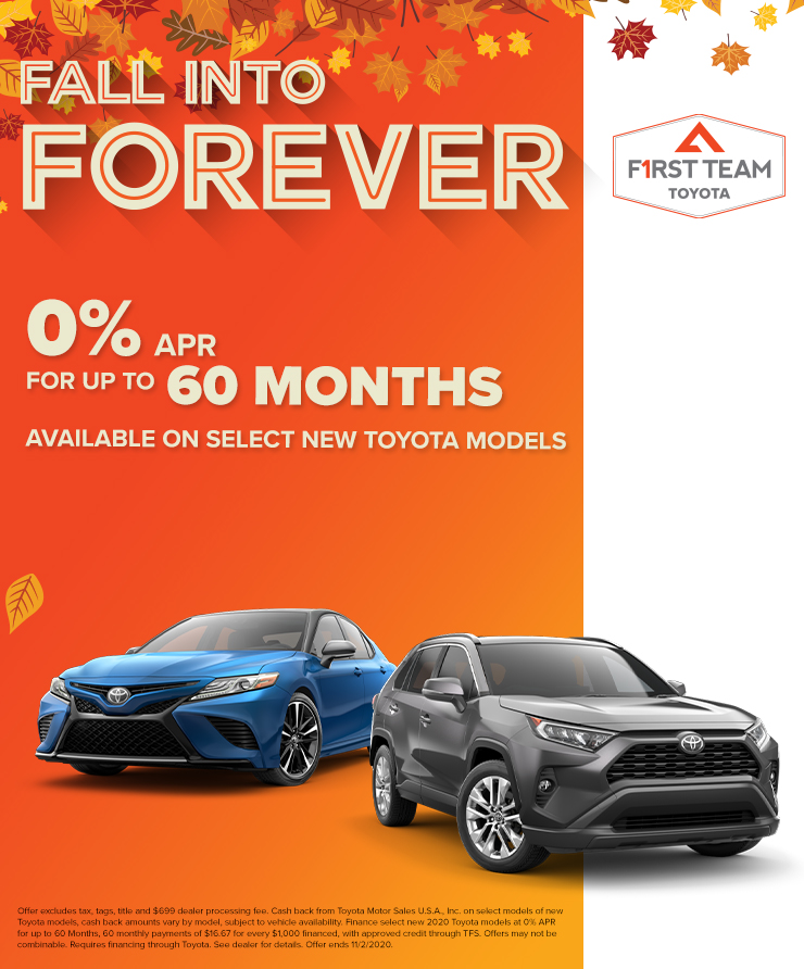 0% APR for Up To 60 Months  Available on select new Toyota models