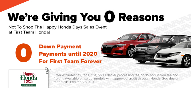 Honda: $0 Down, 0 Payments, $0 for First Team Forever