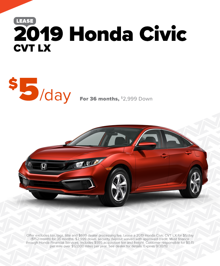 2019 Honda Civic $5/Day