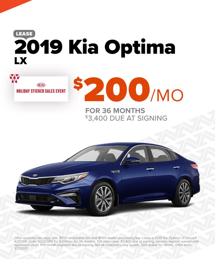 2019 Kia Optima: $200/mo