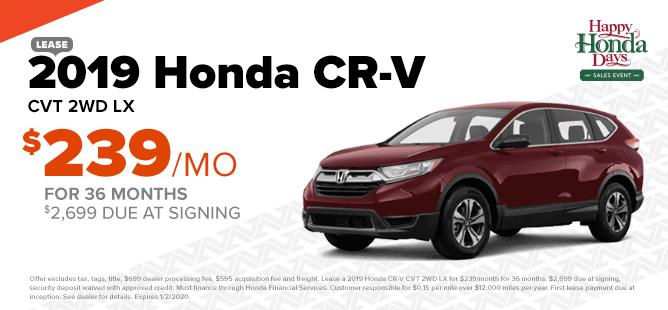 2019 Honda CR-V: $239/mo