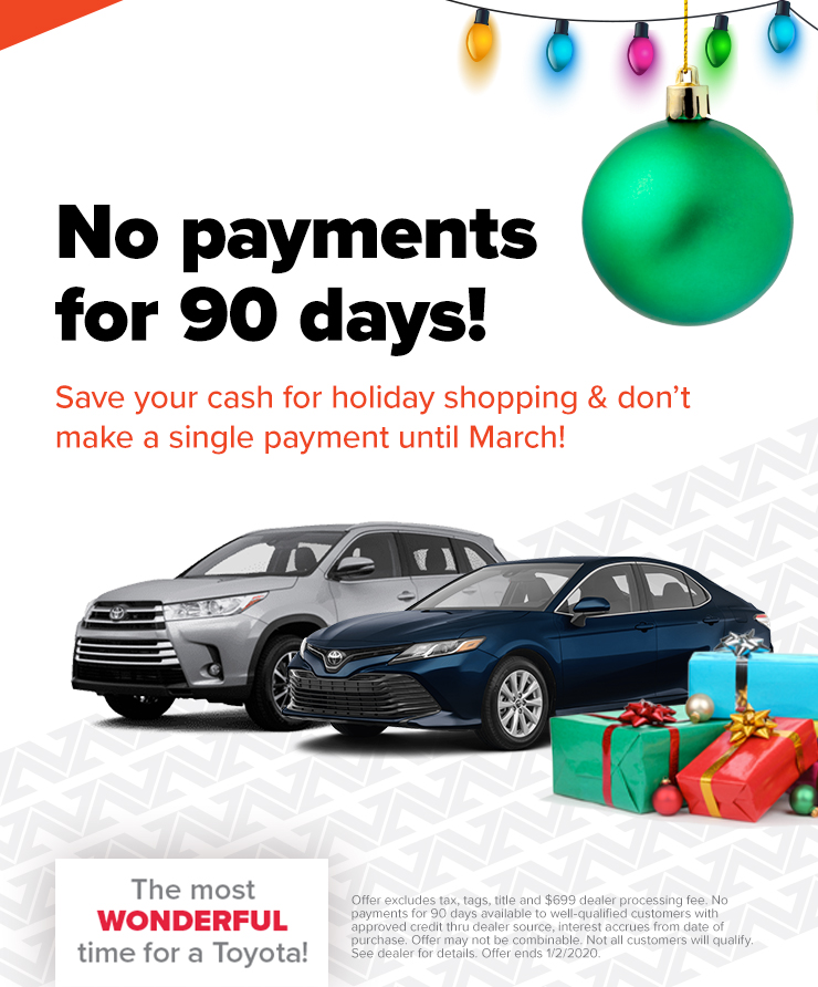 Toyota: No Payments for 90 Days